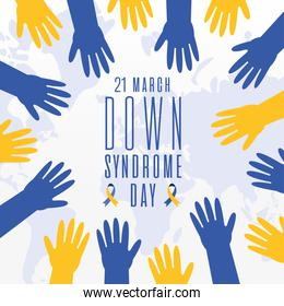 world down syndrome day hands vector illustration