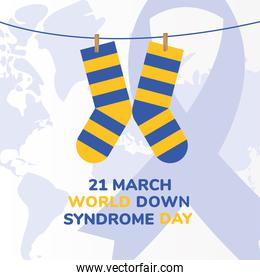 world down syndrome day striped socks hanging