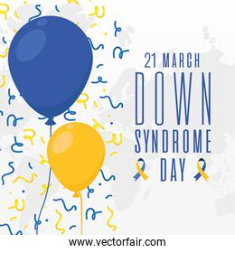 world down syndrome day balloons and confetti vector design