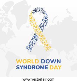 world down syndrome day ribbon vector design