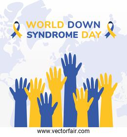 world down syndrome day hands up vector design