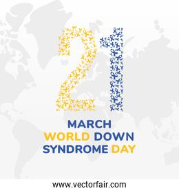 world down syndrome day 21 march with ribbons vector design