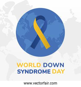 world down syndrome day ribbon on planet vector design