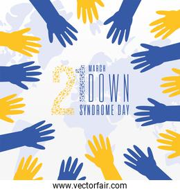 world down syndrome day hands vector design