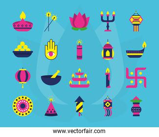 icon set of diwali and hamsa hand, flat style