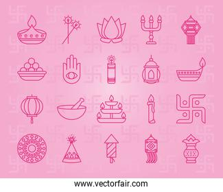 icon set of diwali and hamsa hand, line style