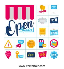 icon set of we are open signs and medical mask, flat style