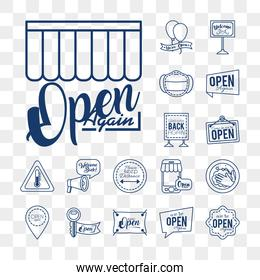 icon set of we are open signs and medical mask, line style