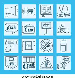 icon set of we are open signs and infrared thermometer, line style