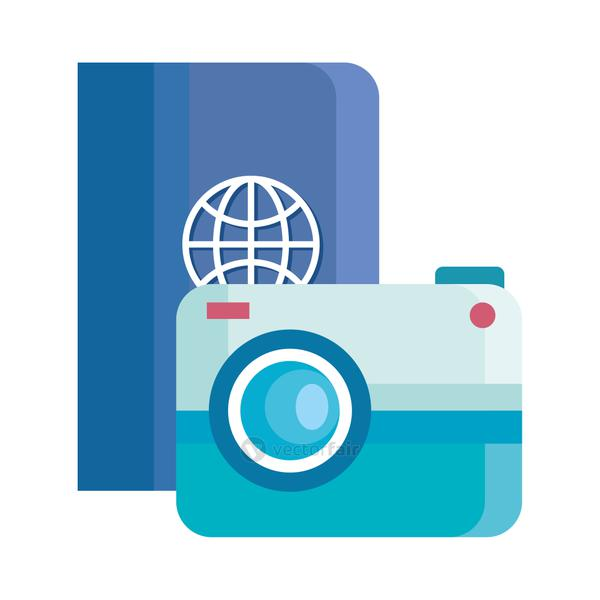 travel passport and camera vector design