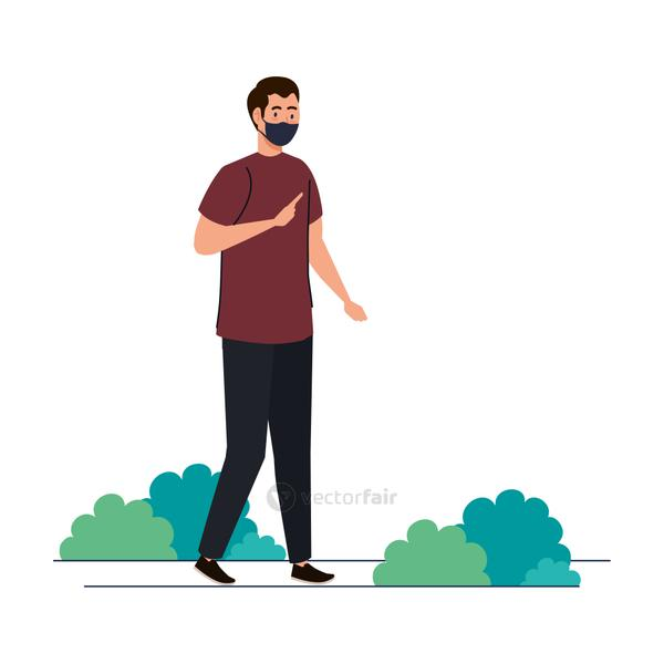New normal of man with mask vector design