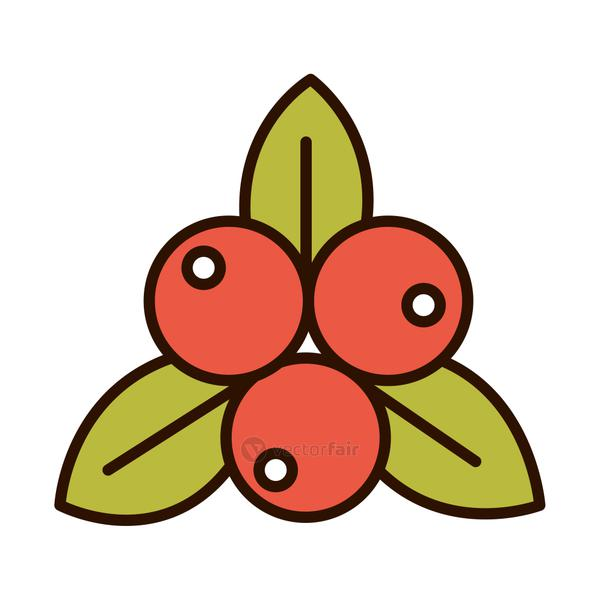fruits leaves nature fresh line fill icon