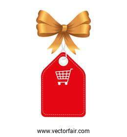 shopping cart in label with bowtie vector design