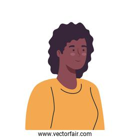 smiling black woman cartoon isolated vector design