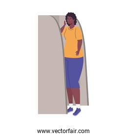 black woman in voting booth vector design