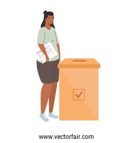voting box and latin woman with vote paper vector design