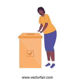 black woman with voting box vector design