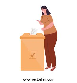 voting box and woman with vote paper vector design