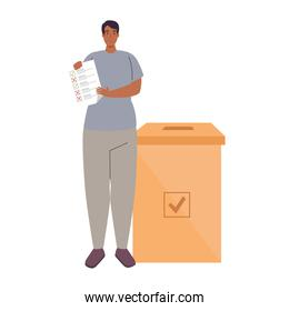 voting box and man with vote paper vector illustration