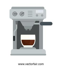 coffee machine with glass cup vector design