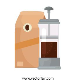 coffee beans bag and french press vector design