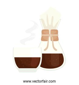 coffee bag and glass cup vector design