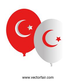 Turkish flag balloons vector design