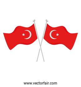 Turkish flags icons vector design