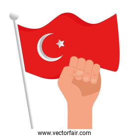 Turkish flag and fist hand vector design