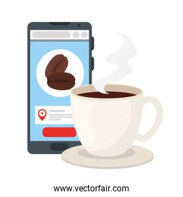 coffee cup and beans inside smartphone vector design