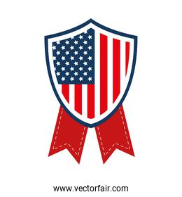 usa flag shield with ribbons vector design