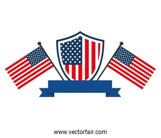 usa shield with flags and ribbon vector design