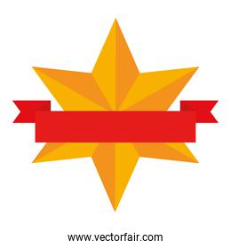 gold star wirh ribbon vector design
