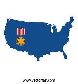 usa star medal on map vector design
