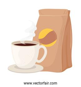 coffee beans bag and cup vector design