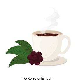 coffee cup with beans and leaves vector design