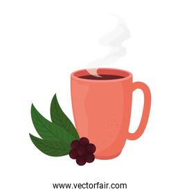 coffee mug with beans and leaves vector design