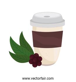 coffee mug and beans and leaves vector design