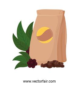 coffee beans bag with leaves vector design