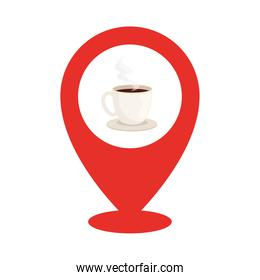 coffee cup inside gps mark vector design