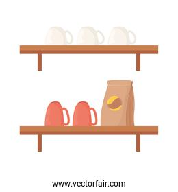 coffee beans bag mugs and cups on shelves vector design