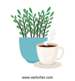 coffee cup with plant inside pot vector design