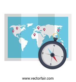compass and world map vector design