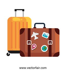 travel bags with stickers vector design