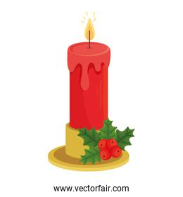 merry christmas candle with berries vector design