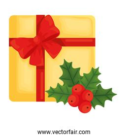 merry christmas gift with berries and leaves vector design