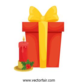 merry christmas gift and candle vector design