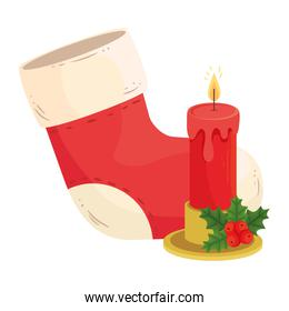 merry christmas boot and candle vector design