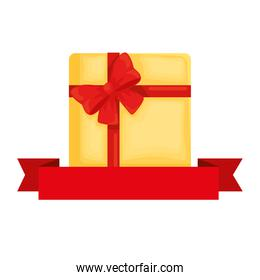 Gift with bowtie and ribbon vector design