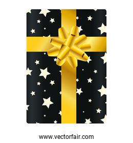 Gift with bowtie starry vector design